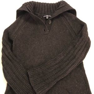 Button cowl neck sweater